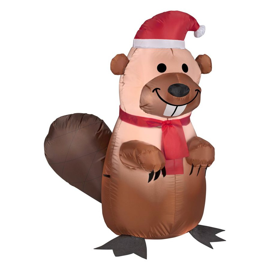 Gemmy 3.51-ft x 2.88-ft Lighted Beaver Christmas Inflatable