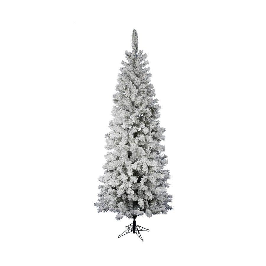 Vickerman 6.5-ft 306-Tip Unlit Pencil Pine Slim Flocked Artificial Christmas Tree