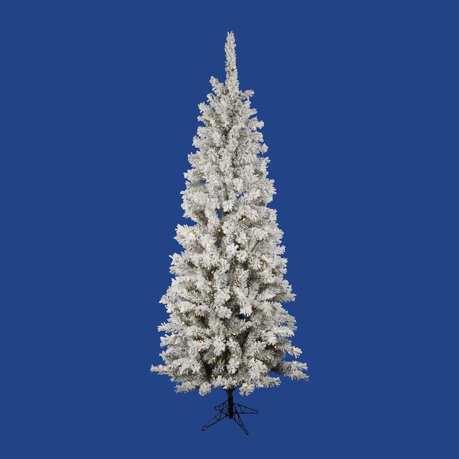 Vickerman 6.5-ft Pre-lit Pencil Pine Slim Flocked Artificial Christmas Tree with 300 Constant Clear White LED Lights