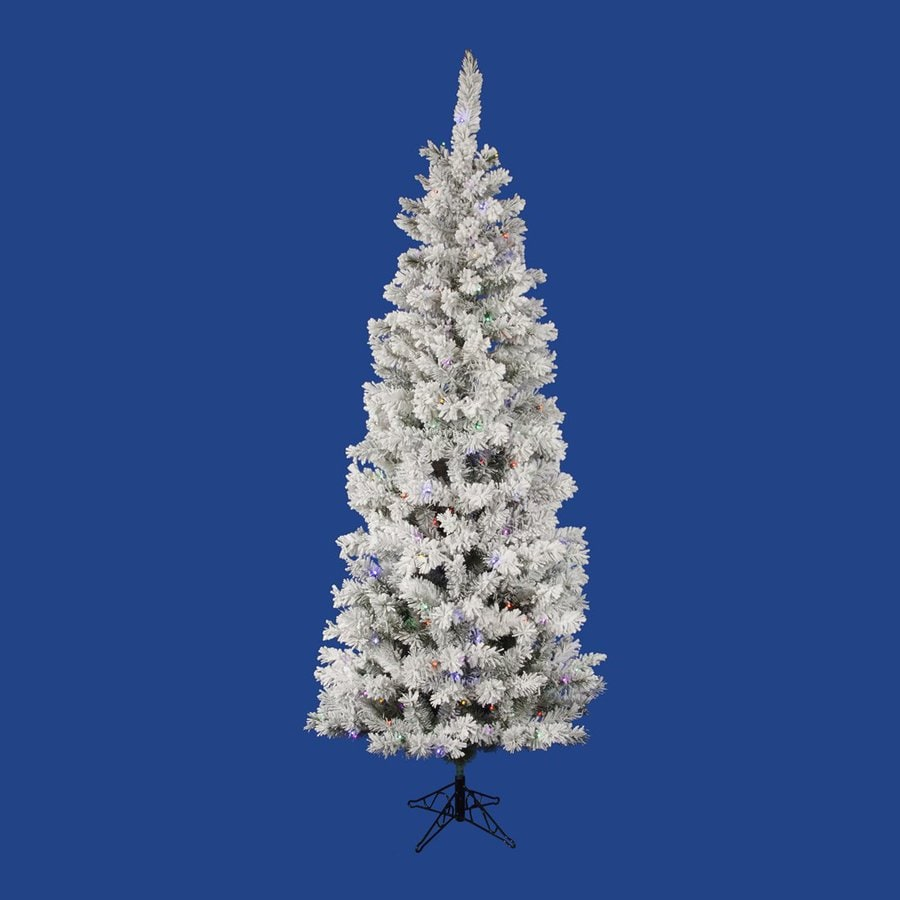 Vickerman 6.5-ft 306-Tip Pre-Lit Pencil Pine Slim Flocked Artificial Christmas Tree with 300 Multicolor Led Lights