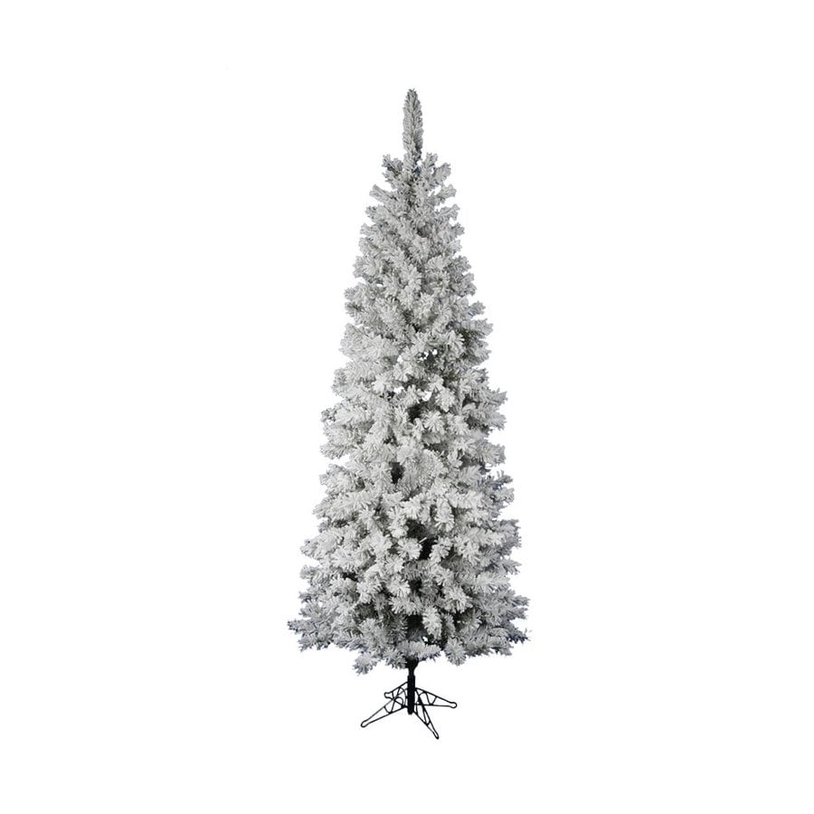 Vickerman 7.5-ft 438-Tip Unlit Pencil Pine Slim Flocked Artificial Christmas Tree