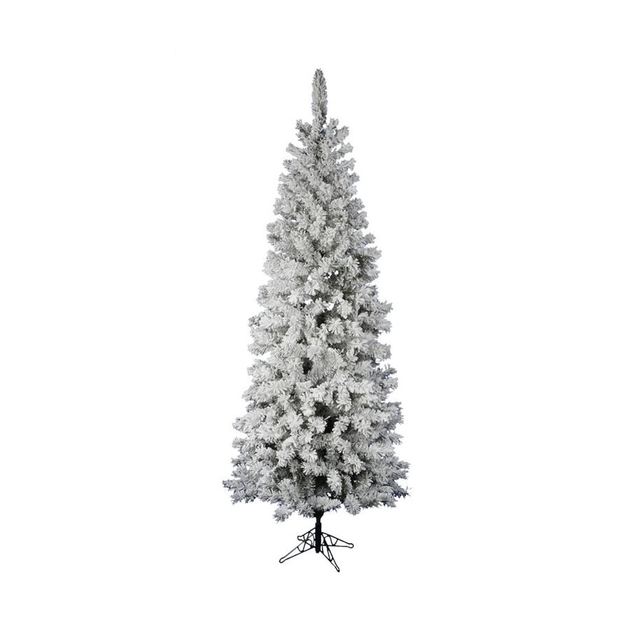 Vickerman 7.5-ft 438-Count Pencil Pine Slim Flocked Artificial Christmas Tree