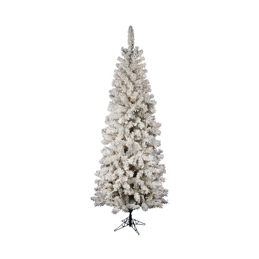 Vickerman 8.5-ft Pre-lit Pencil Pine Slim Flocked Artificial Christmas Tree with 500 Constant Clear White Incandescent Lights