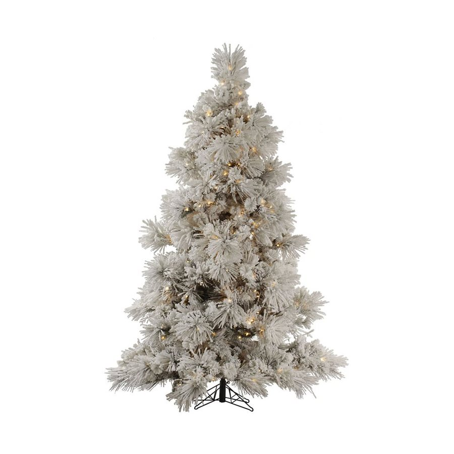 Vickerman 8-ft Pre-Lit Flocked Artificial Christmas Tree with Clear White Incandescent Lights