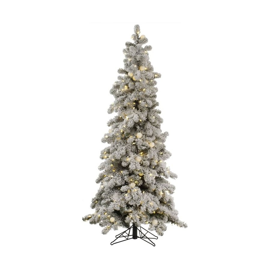 Vickerman 6-ft Pre-Lit Flocked Slim Artificial Christmas Tree with White LED/Incandescent Lights