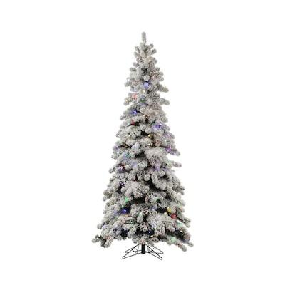 Slim Flocked Christmas Tree With Lights.Vickerman 7 Ft Pre Lit Kodiak Spruce Slim Flocked Artificial