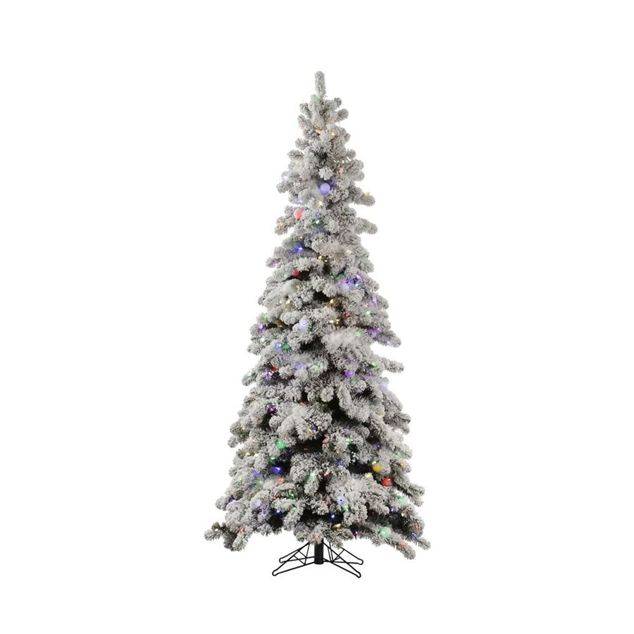Vickerman 8-ft Pre-Lit Spruce Flocked Slim Artificial Christmas Tree with White LED Lights