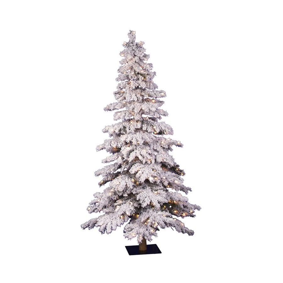 Vickerman 4 Ft Pre Lit Alpine Slim Flocked Artificial Christmas Tree With 150 Constant Clear White Incandescent Lights