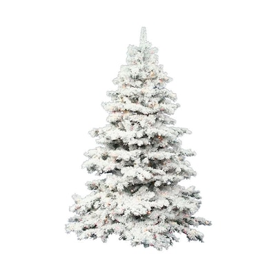 premium selection 82e74 748bd 3-ft Pre-lit Alaskan Pine Flocked Artificial Christmas Tree with 100  Constant Multicolor LED Lights