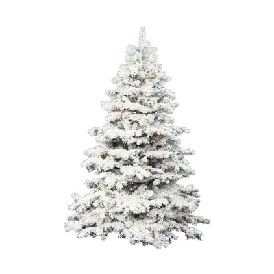 Vickerman Christmas Trees.3 Ft Pre Lit Alaskan Pine Flocked Artificial Christmas Tree With 100 Constant Multicolor Led Lights