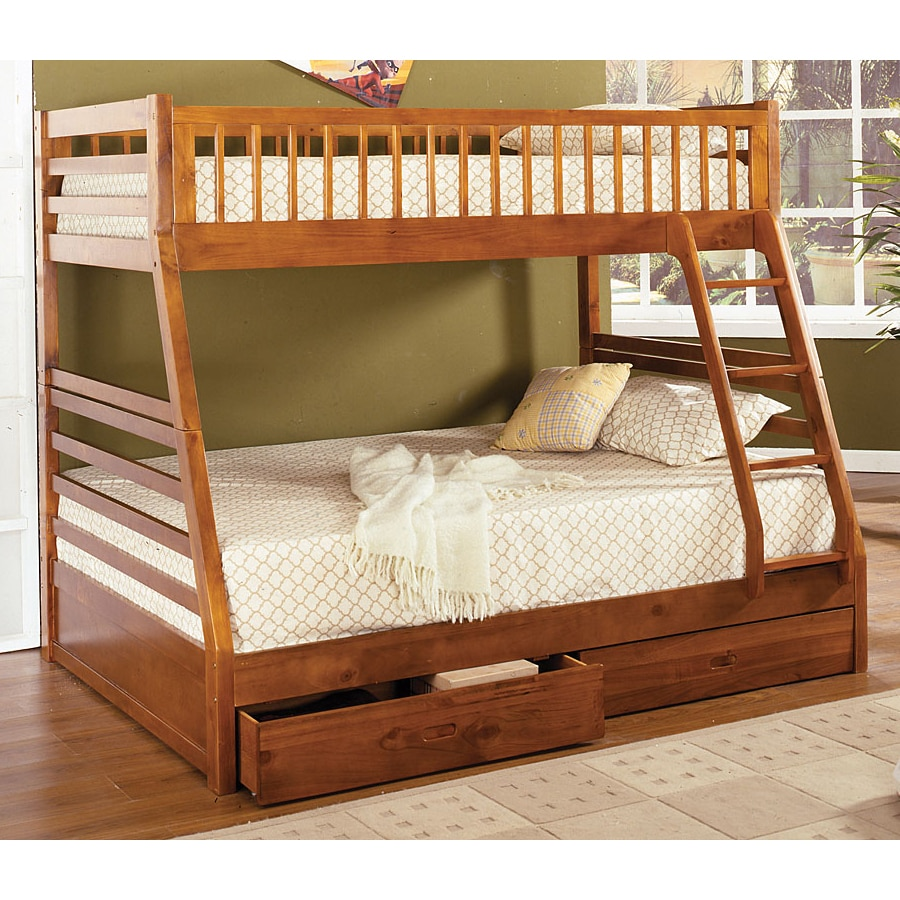 furniture of america california oak twin over full bunk bed