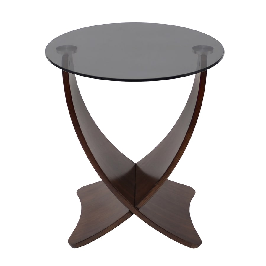 Lumisource Criss Cross Light Wenge Walnut Round End Table