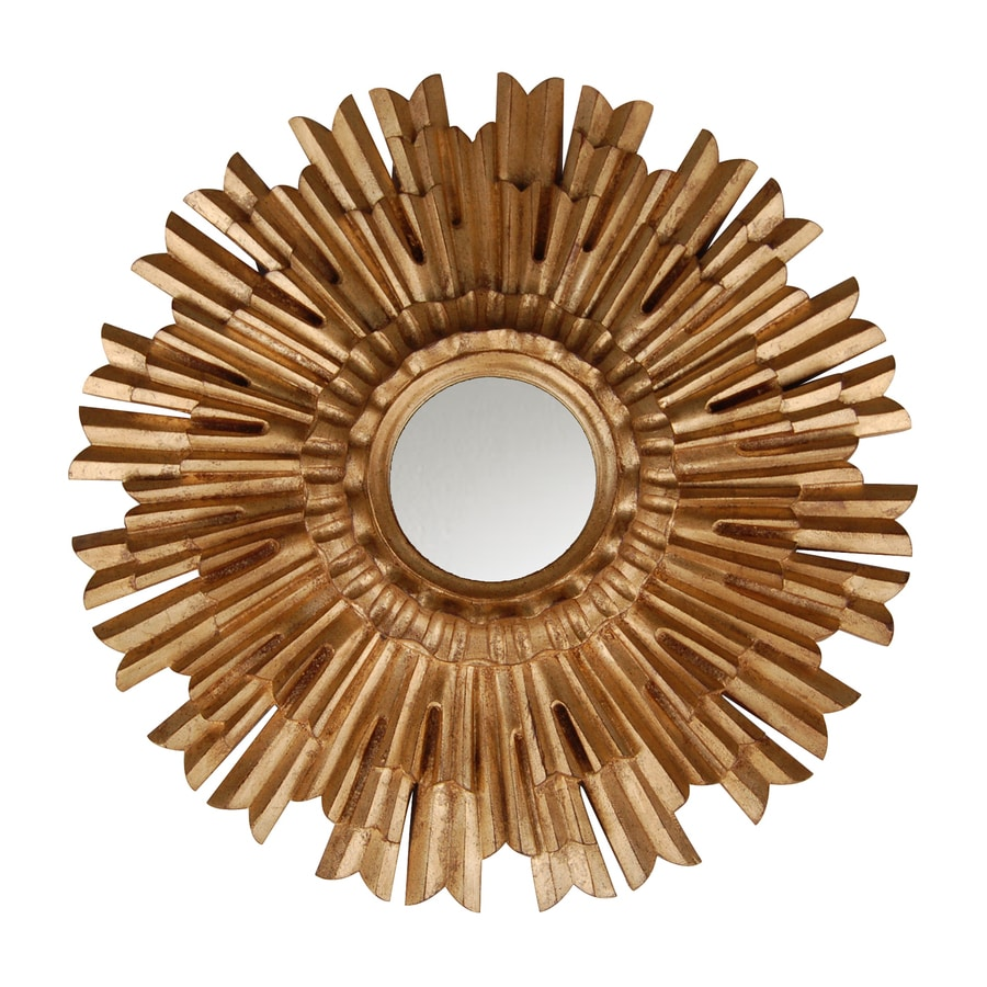 Hickory Manor House Eleganza 22-in x 22-in Gold Leaf Polished Round Framed Sunburst Wall Mirror