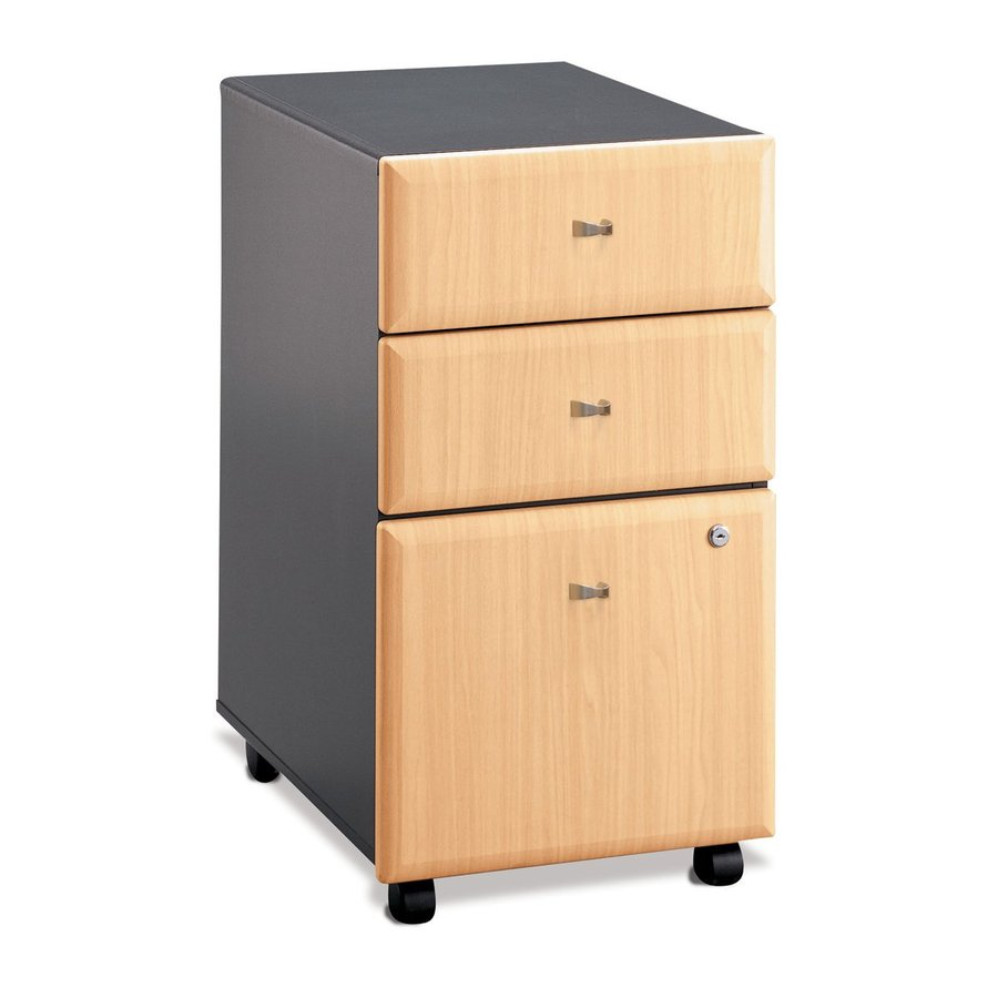 Shop bush business furniture savannah beech slate 3 drawer for Mobile furniture