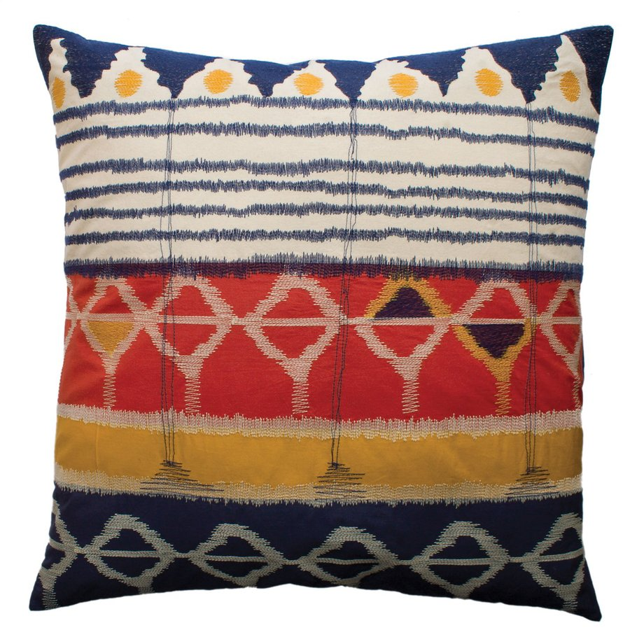 Rhadi by Koko 26-in W x 26-in L Blue/Gold Square Indoor Decorative Pillow