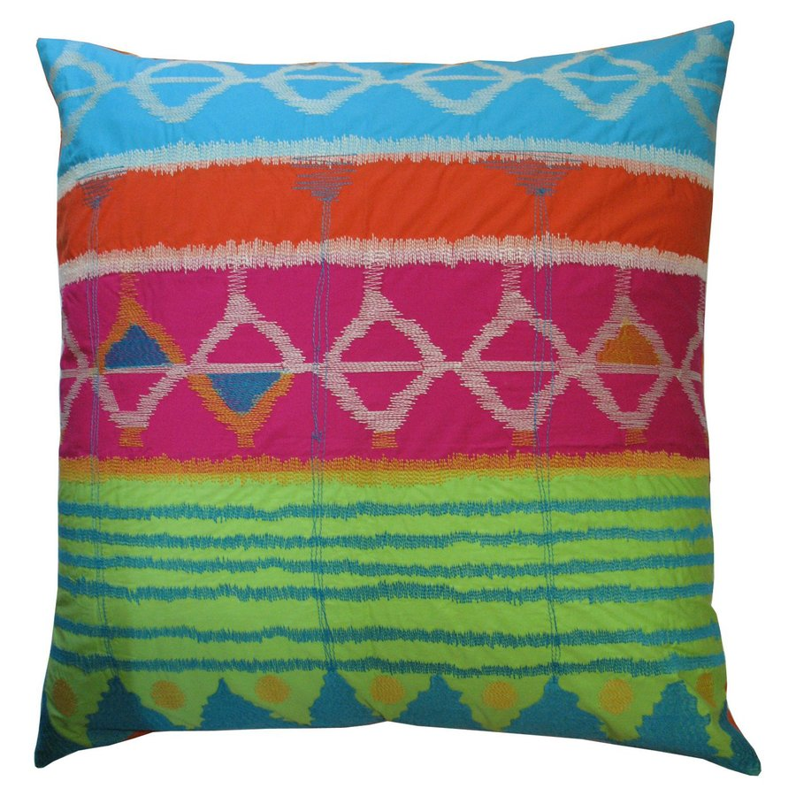 Rhadi by Koko 26-in W x 26-in L Green/Pink/Blue Indoor Decorative Pillow