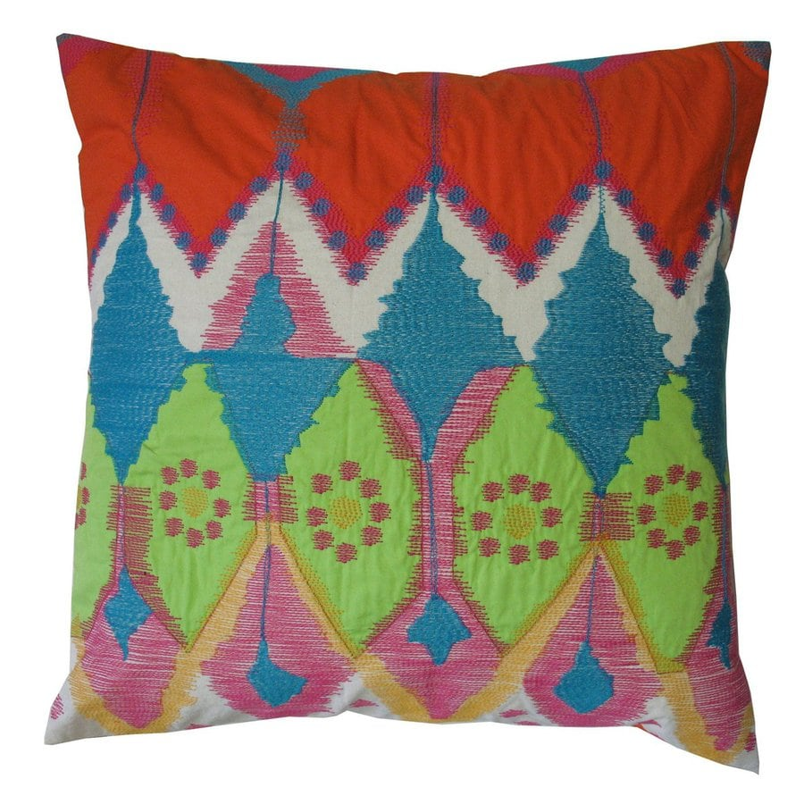 Rhadi by Koko 20-in W x 20-in L Green/Pink/Blue Square Indoor Decorative Pillow