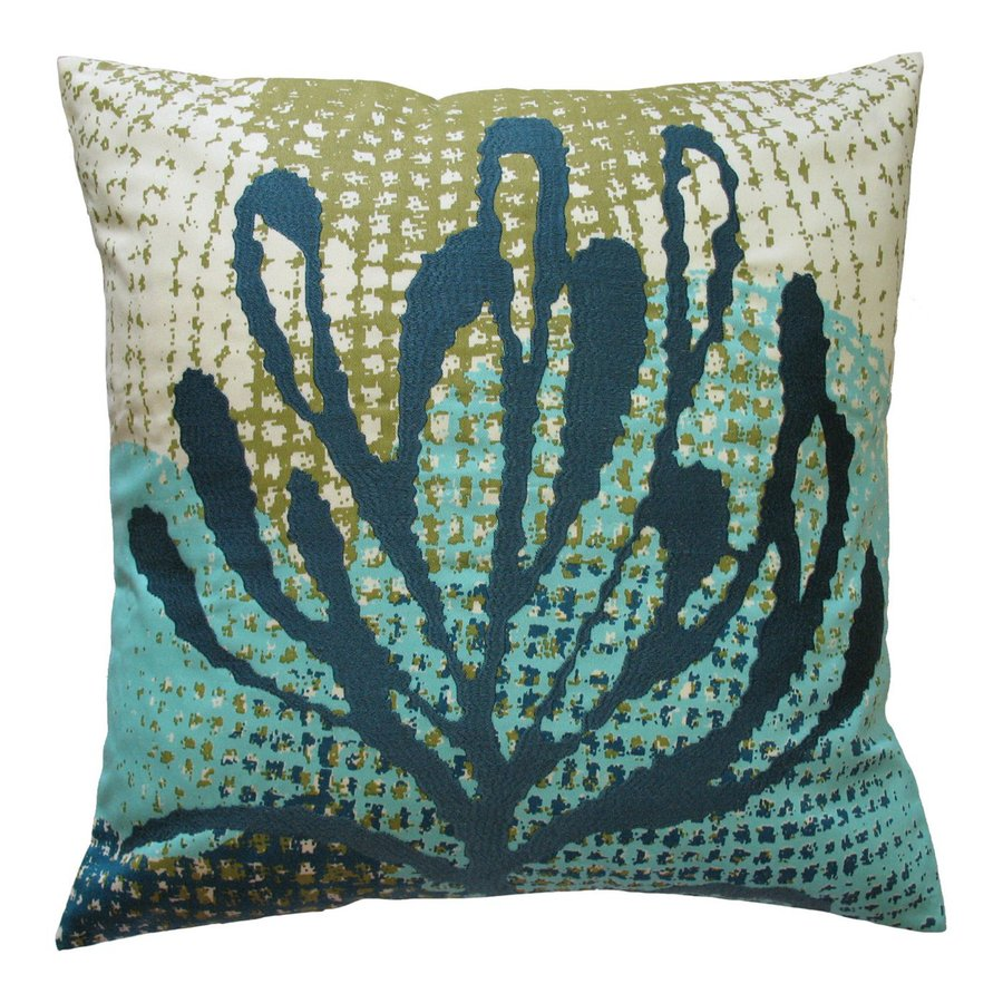 Rhadi by Koko 20-in W x 20-in L Blue/Green Square Indoor Decorative Pillow