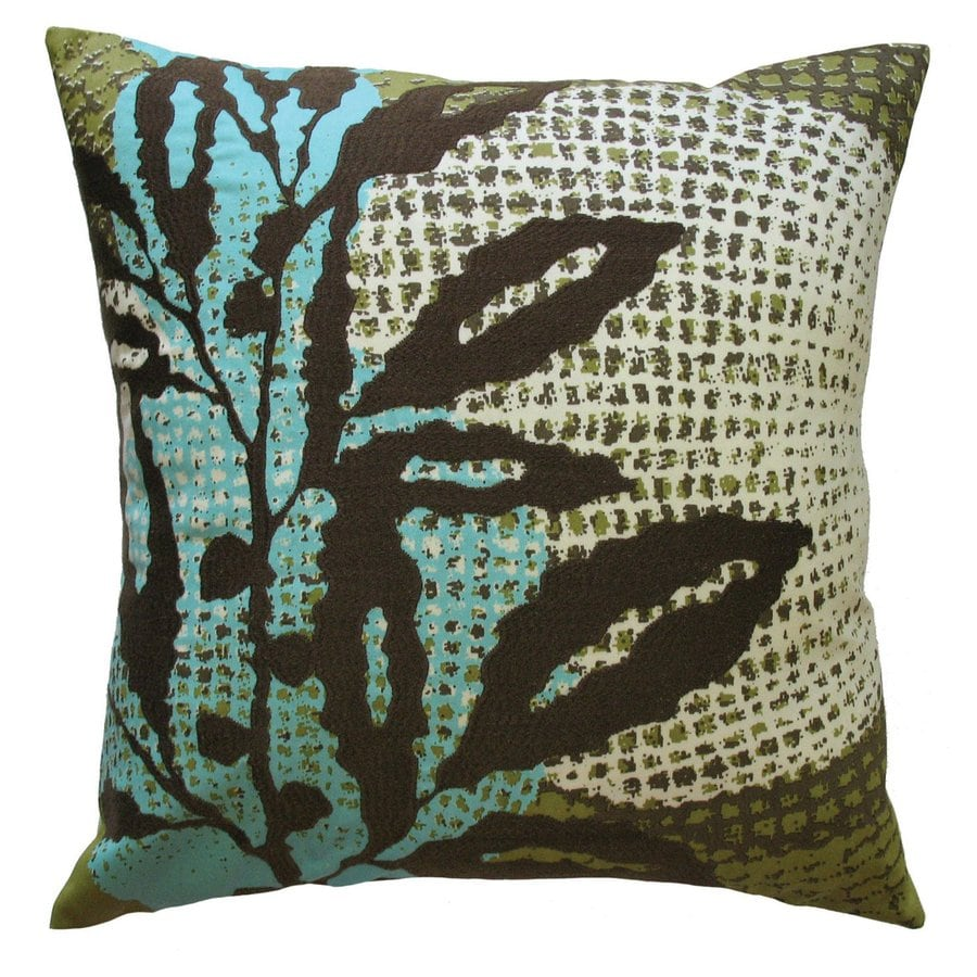 Rhadi by Koko 18-in W x 18-in L Blue/Green Square Indoor Decorative Pillow