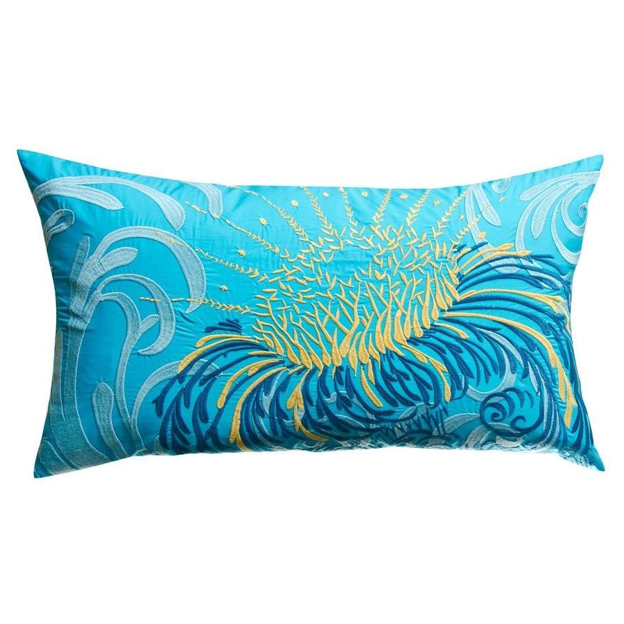 Rhadi by Koko 27-in W x 15-in L Blue/Mustard Rectangular Indoor Decorative Pillow