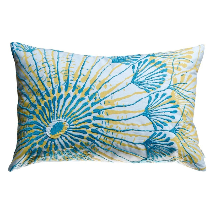 Rhadi by Koko 20-in W x 13-in L Blue/Mustard Rectangular Indoor Decorative Pillow