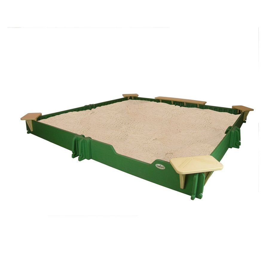 Sandlock 118-in x 118-in Green Square Plastic Sandbox
