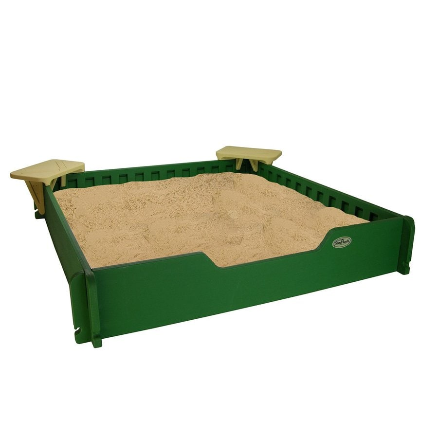 Sandlock 59-in x 59-in Green Square Plastic Sandbox