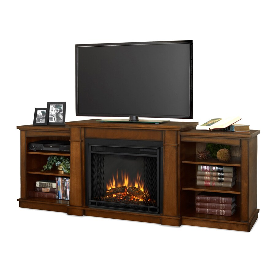 Real Flame 74.72-in W 4780-BTU Burnished Oak Wood LED Electric Fireplace with Thermostat and Remote Control