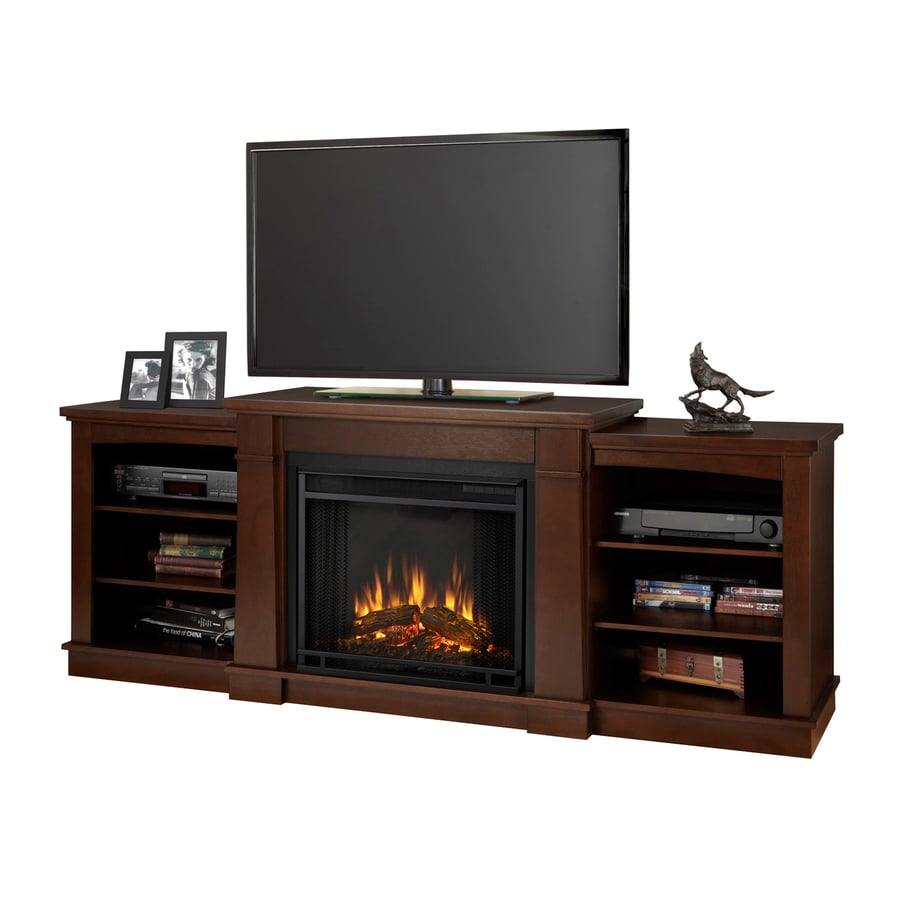Real Flame 74.72-in W 4780-BTU Dark Espresso Wood LED Electric Fireplace with Thermostat and Remote Control