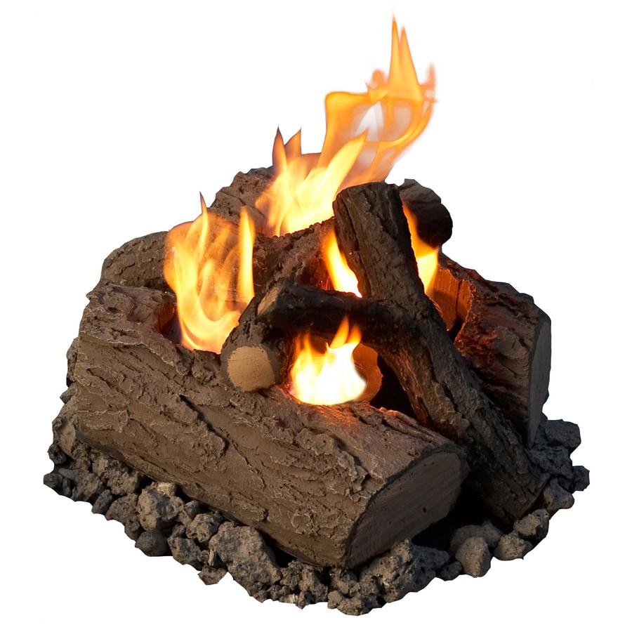 Shop Real Flame Oak Concrete Gas Fire Pit Log Set At Lowes Com