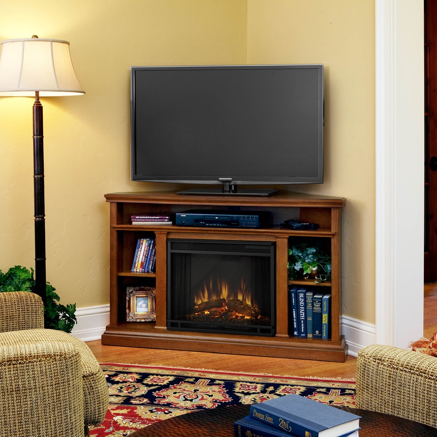 780-BTU Oak Wood Corner LED Electric Fireplace with Media Mantel with Thermostat and Remote Control at Lowes.com
