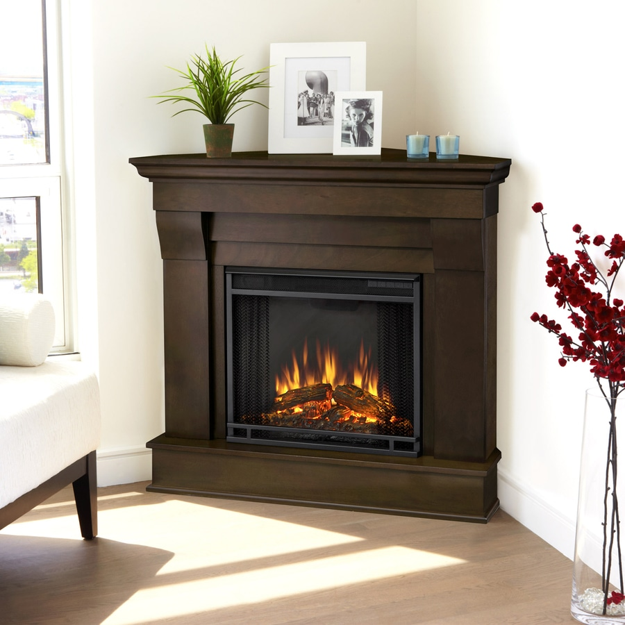 Real Flame 40.9-in  W 4,780-BTU Dark Walnut Wood Corner LED Electric Fireplace with Media Mantel with Thermostat and Remote Control