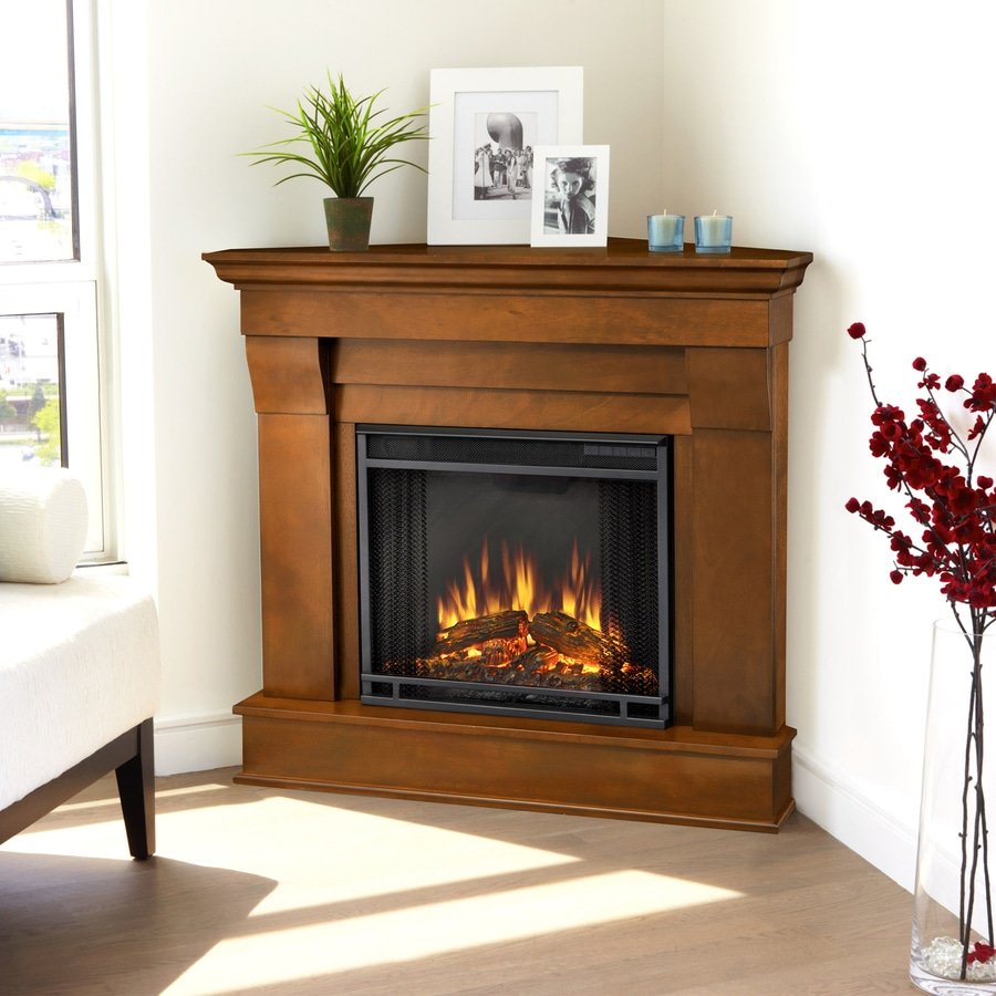 Shop Real Flame 40 9 In W 4 780 Btu Espresso Wood Corner Led Electric Fireplace With Media