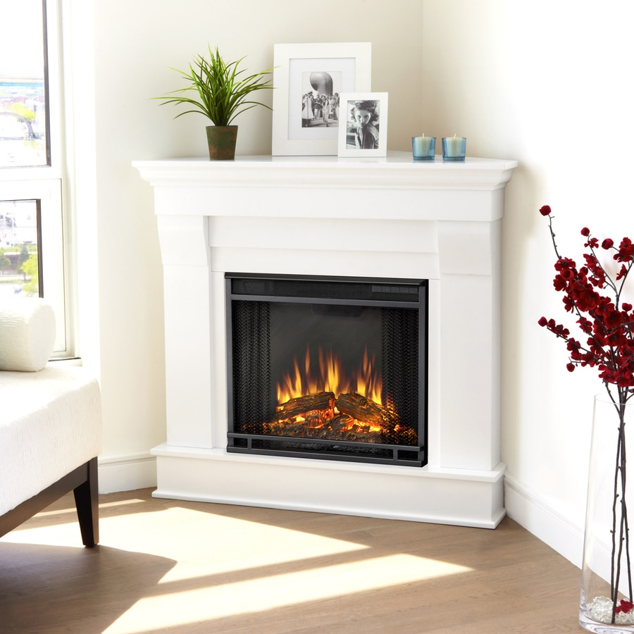 Real Flame 40.9-in  W 4,780-BTU White Wood  Corner LED Electric Fireplace with Media Mantel with Thermostat and Remote Control
