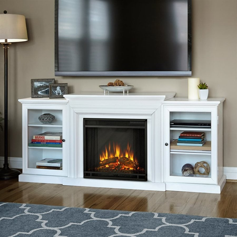 Real Flame 72-in  W 4,780-BTU White Wood Wall Mount LED Electric Fireplace with Media Mantel with Thermostat and Remote Control