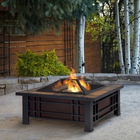 Real Flame 33.6 In W Black Steel Wood Burning Fire Pit