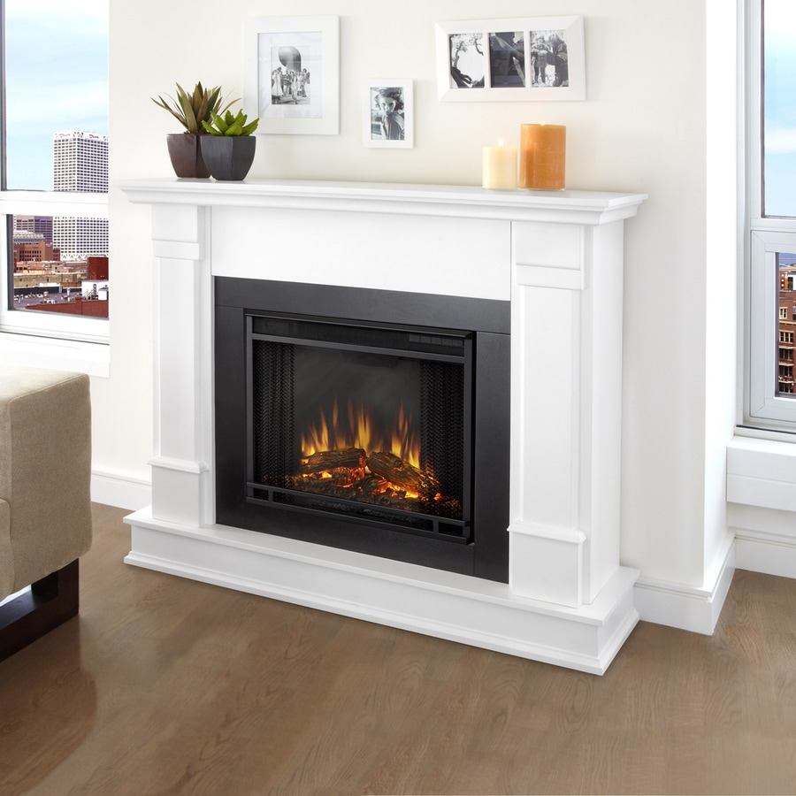 Shop real flame 48 in w 4 780 btu white wood wall mount led electric fireplace with media mantel - Fire place walls ...