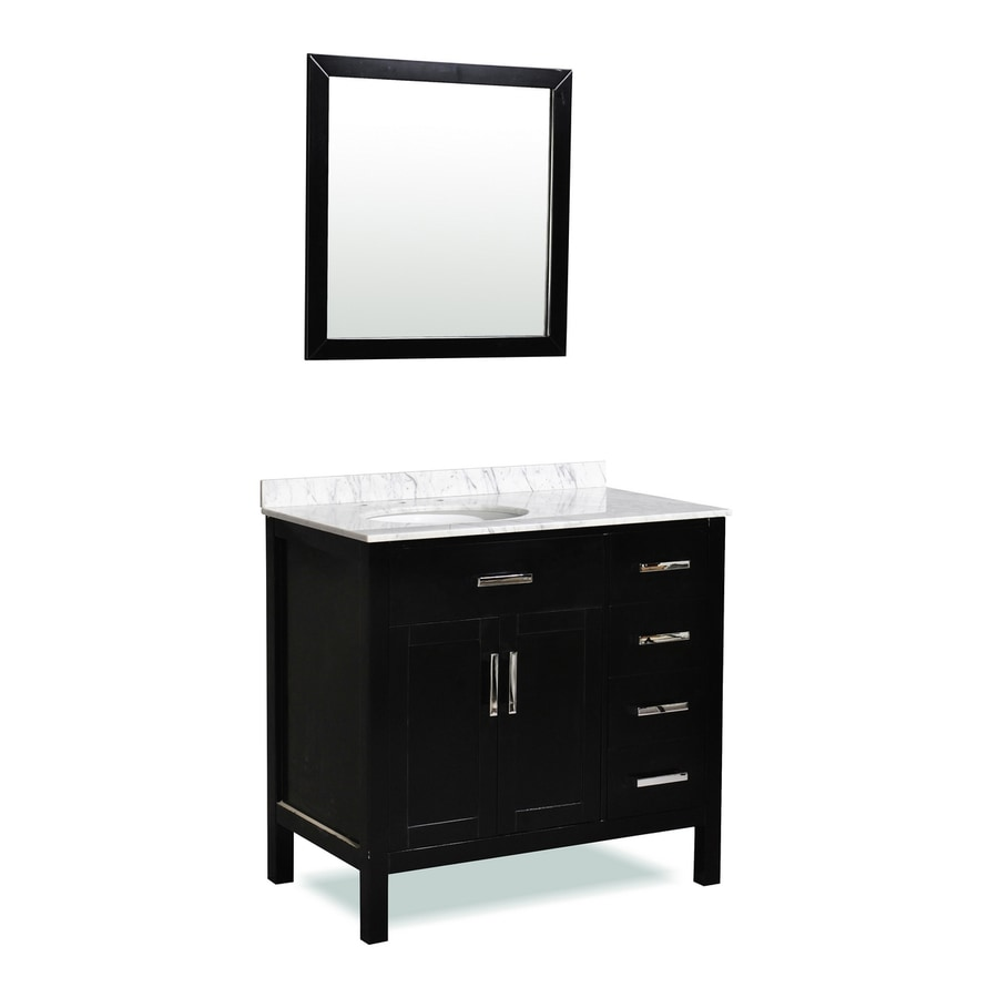 Ariel Bath Ashland Black 37-in Undermount Single Sink Oak Bathroom Vanity with Natural Marble Top (Mirror Included)