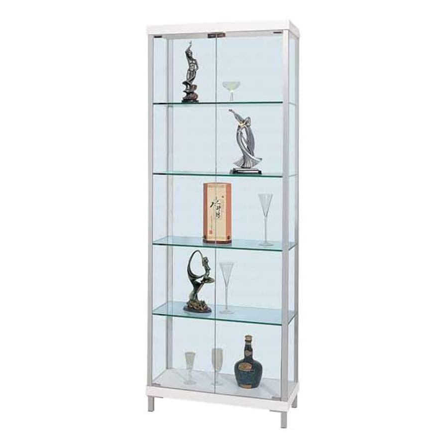 Creative Images International High Rise White/Silver Metal Curio Cabinet