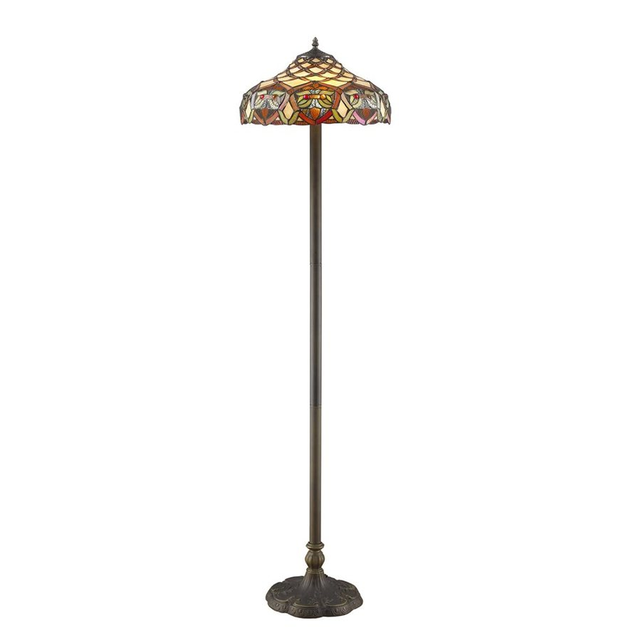 Warehouse of Tiffany Ariel 60-in Bronze-Tone Indoor Floor Lamp with Tiffany-Style Shade