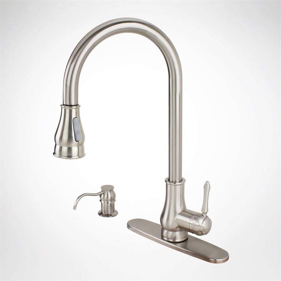 Kokols USA Brushed Nickel 1-Handle Deck Mount Pull-Down Kitchen Faucet