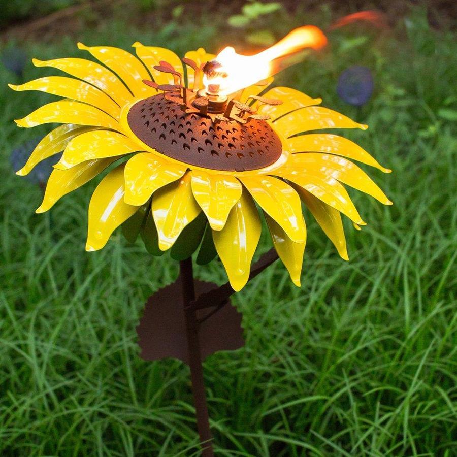 Desert Steel Sunflower 32-in Garden Torches