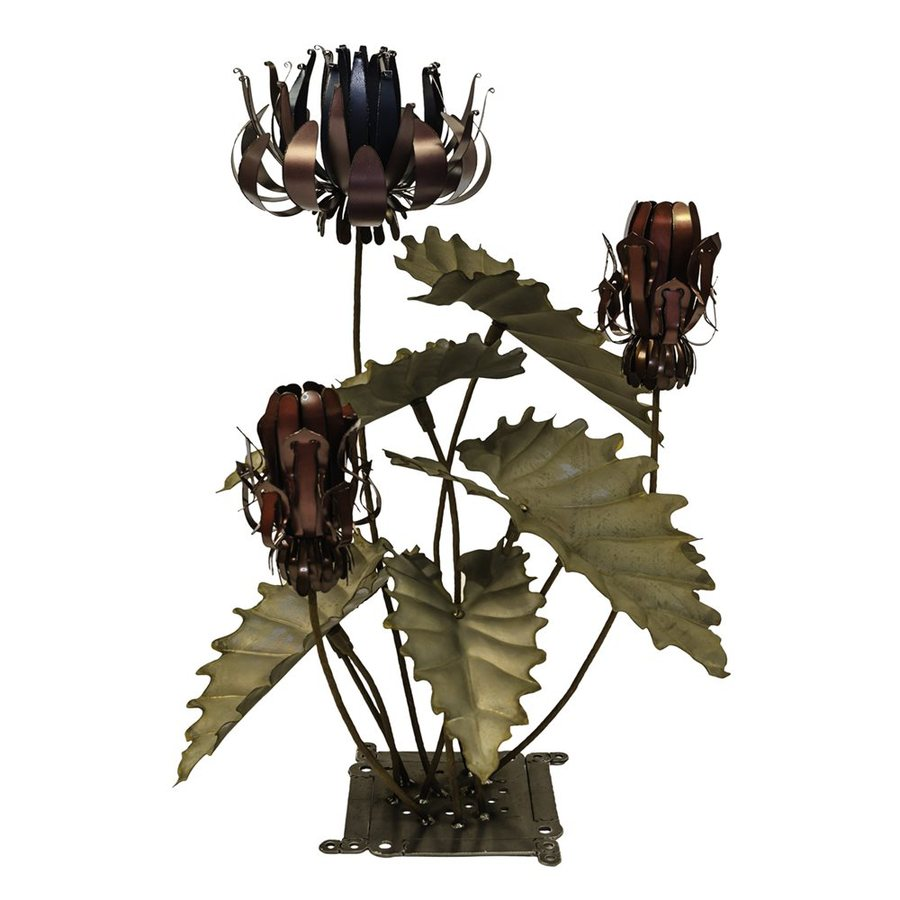 Desert Steel Passion Flower 36-in Verdigris Patina Garden Torches