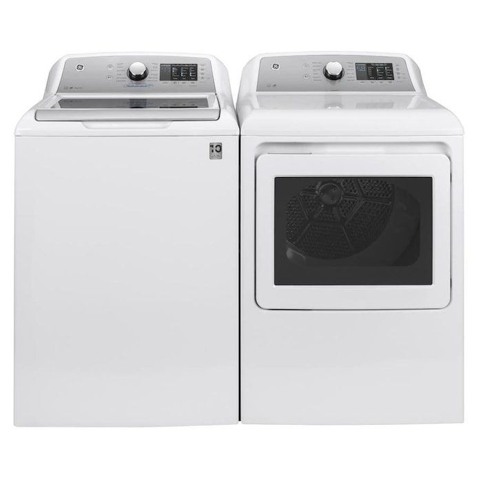 Shop Ge High Efficiency Top Load Washer Electric Dryer Set W Flexdispense At Lowes Com