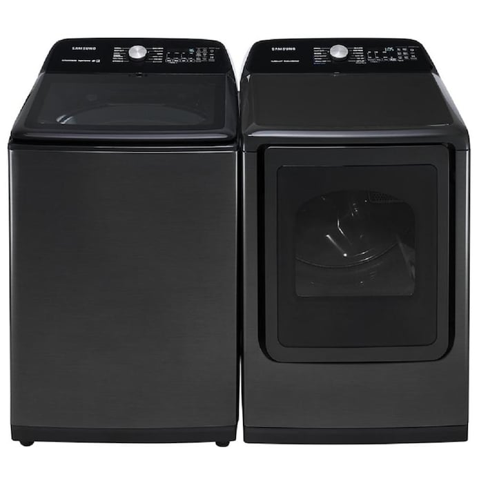Shop Samsung Large Capacity Fingerprint Resistant Black Stainless Steel Top Load Washer Gas Dryer Set At Lowes Com