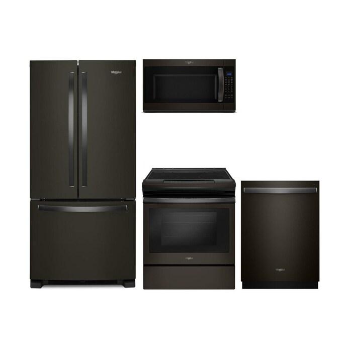 Shop Whirlpool French Door Refrigerator Electric Range Suite In Fingerprint Resistant Black Stainless Steel At Lowes Com