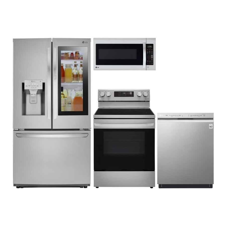 Shop Lg French Door Refrigerator Electric Range Suite In Fingerprint Resistant Stainless Steel At Lowes Com