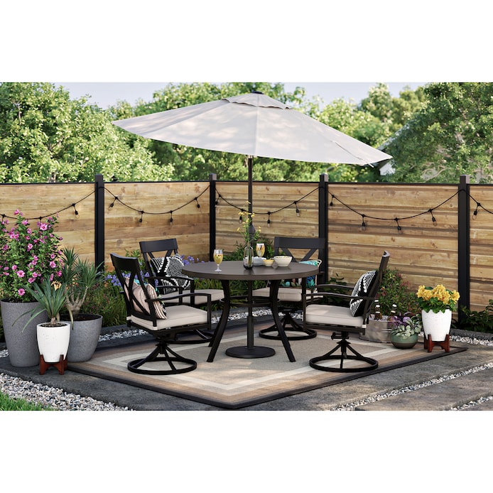 Style Selections Glenwood 5 Piece, 5 Piece Wicker Patio Dining Set With Umbrella Hole