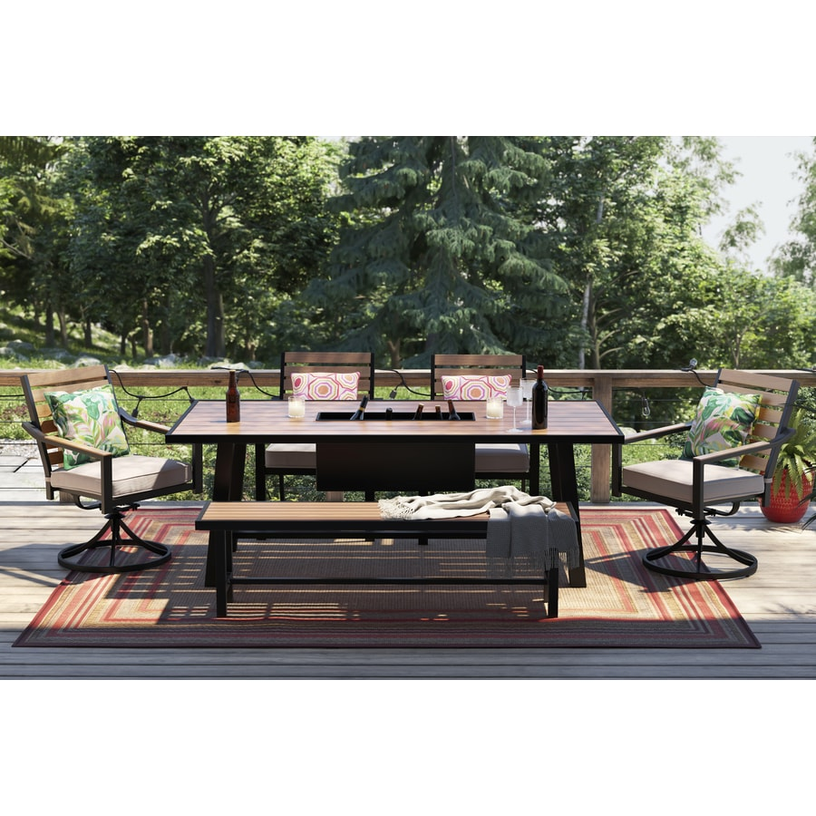 Shop Allen Roth Fairway Oaks 6 Piece Patio Dining Set With Bench At Lowes Com