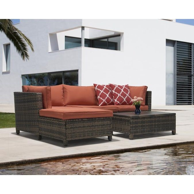 Included In The Patio Conversation Sets, For Living 3 Piece Wicker Patio Sectional Set With Cushions